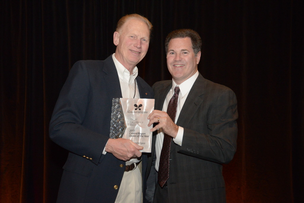 Keith Wingfield of Tradewinds Spas receives the Caldera Central Dealer of the Year Award for 2014.